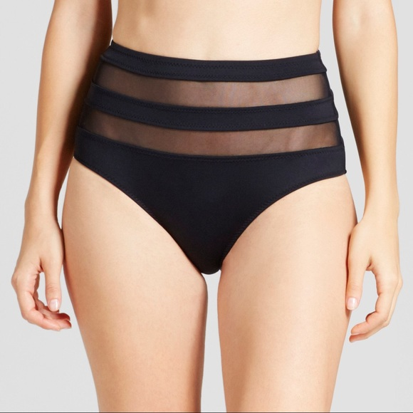 Mossimo High Waisted Bikini Swimsuit Bottoms Burgundy
